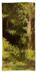 Hand Towel featuring the painting Into The Woods by Laurie Rohner