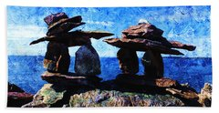 Bath Towel featuring the photograph Inukshuk by Zinvolle Art