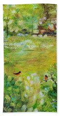 Bath Towel featuring the painting Invincible Spring by Judith Rhue