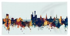 Bath Towel featuring the digital art Iowa City Iowa Skyline by Michael Tompsett