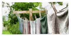 Hand Towel featuring the photograph Iowa Farm Laundry Day  by Wilma Birdwell
