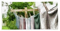 Bath Towel featuring the photograph Iowa Farm Laundry Day  by Wilma Birdwell