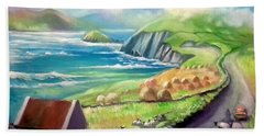 Hand Towel featuring the painting Ireland Co Kerry by Paul Weerasekera