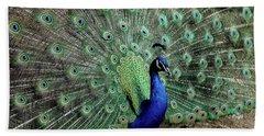 Iridescent Blue-green Peacock Bath Towel