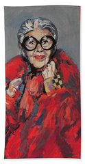 Hand Towel featuring the painting Iris Apfel Style Icon by Nop Briex