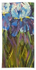 Hand Towel featuring the painting Iris Floral Garden by Claire Bull