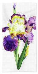 Iris Flowers Watercolor  Bath Towel