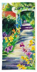 Hand Towel featuring the painting Iris Garden Walkway   by Kathy Braud