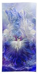 Hand Towel featuring the mixed media Iris - Goddess Of The Sea by Carol Cavalaris