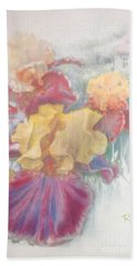 Hand Towel featuring the painting Iris In Cottage Garden by Ryn Shell