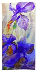 Bath Towel featuring the painting Iris by Jasna Dragun