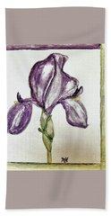 Iris Painted In Purple Bath Towel by Marsha Heiken