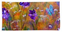 Iris Wildflowers And Butterfly Hand Towel by Claire Bull