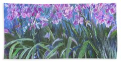 Bath Towel featuring the painting Irises En Mass by Betty Pieper