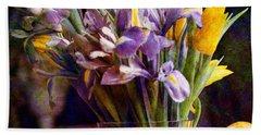Irises In A Glass Bath Towel