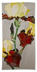 Bath Towel featuring the painting Irises-posthumously Presented Paintings Of Sachi Spohn  by Cliff Spohn