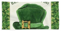 Bath Towel featuring the painting Irish Cap by Debbie DeWitt