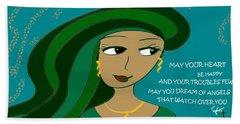 Irish Poem - May Your Heart Be Happy Bath Towel
