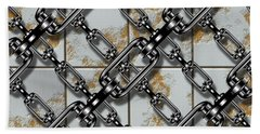Iron Chains With Rusty Metal Panels Seamless Texture Bath Towel