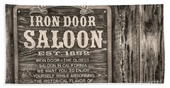 Iron Door Saloon 1852 Hand Towel by David Millenheft