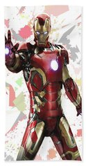Bath Towel featuring the mixed media Iron Man Splash Super Hero Series by Movie Poster Prints