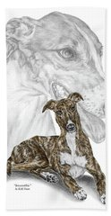 Irresistible - Greyhound Dog Print Color Tinted Bath Towel