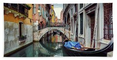 Gondola Parked On Lonely Water Canal In Venice, Italy Hand Towel