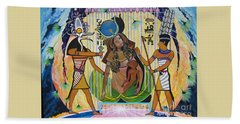 Blaa Kattproduksjoner     Presents Isis Giving Birth To Horus Bath Towel