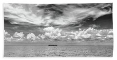Island, Clouds, Sky, Water Bath Towel