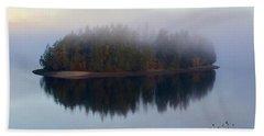 Island In The Autumn Mist Bath Towel