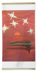 Bath Towel featuring the painting Island In The Sky With Diamonds by Ron Davidson