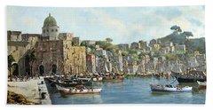 Island Of Procida - Italy- Harbor With Boats Hand Towel