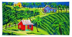 Island Time - Colorful Houses Caribbean Cottages Hand Towel