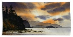 Bath Towel featuring the painting Islands Autumn Sky by James Williamson