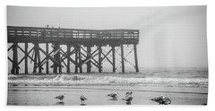 Isle Of Palms Pier And Fog Bath Towel