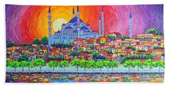Istanbul Blue Mosque Sunset Modern Impressionist Palette Knife Oil Painting By Ana Maria Edulescu    Bath Towel