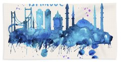 Istanbul Skyline Watercolor Poster - Cityscape Painting Artwork Bath Towel