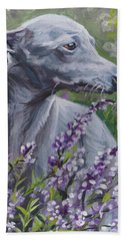 Hand Towel featuring the painting  Italian Greyhound In Flowers by Lee Ann Shepard