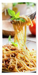 Italian Spaghetti Bolognese Bath Towel