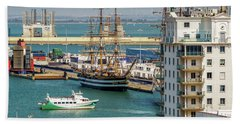 Bath Towel featuring the photograph Italian Training Ship Amerigo Vespucci Cadiz Spain by Pablo Avanzini