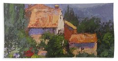Bath Towel featuring the painting Italian Village by Chris Hobel