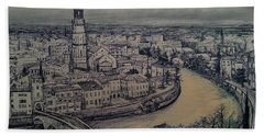 Hand Towel featuring the drawing Italy Verona by Maja Sokolowska