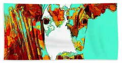 Turquoise Cow Hand Towel