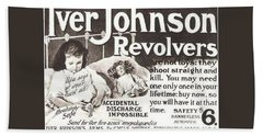 Bath Towel featuring the digital art Iver Johnson Revolvers by Reinvintaged