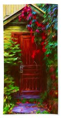 Ivy Surrounded Old Outhouse Hand Towel