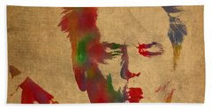 Jack Nicholson Smoking A Cigar Blowing Smoke Ring Watercolor Portrait On Old Canvas Hand Towel by Design Turnpike