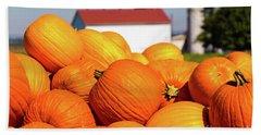 Jack-o-lantern Pumpkins At Farm Bath Towel