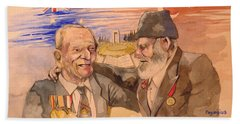 Hand Towel featuring the painting Jack Ryan And Hyseyin Kacmaz by Ray Agius