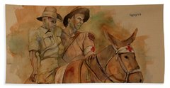 Hand Towel featuring the painting Jack Simpson And Duffy by Ray Agius