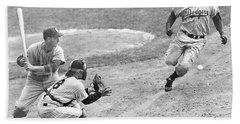 Jackie Robinson Stealing Home Yogi Berra Catcher In 1st Game 1955 World Series Hand Towel